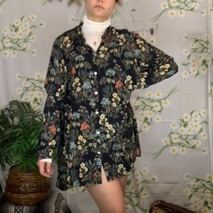 J Jill black floral shirt dress tunic